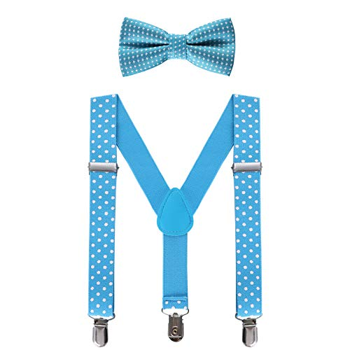 Kids Suspender Bow Tie Sets - Adjustable Braces With Bowtie Gift Idea for Boys and Girls by WELROG (Sky Blue Polka Dot, 25Inches (6 Months to 7 Years)) -