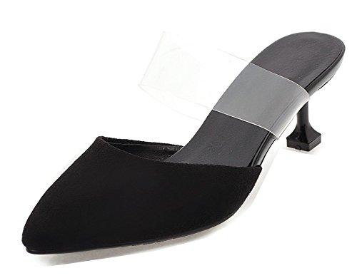 Mules Pointue Sexy Talon Noir Maison Fille Moyen Aisun Bal Femme Transparent 1wASSz
