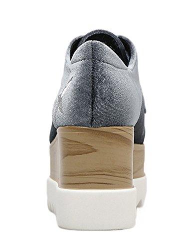 Aisun Damen Samt Oxford Sterne Schnürsenkel Durchgängig Platrau Keilabsatz Erhöht Sneakers Grau