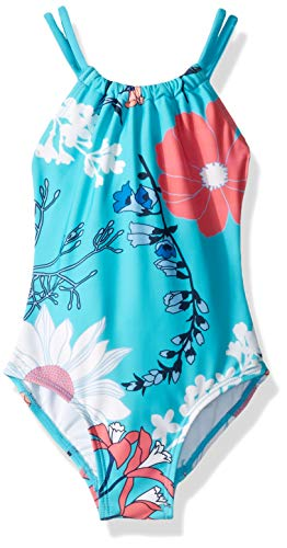 (Kanu Surf Little Girls' Jasmine Beach Sport Halter One Piece Swimsuit, Paige Floral Aqua, 6X )