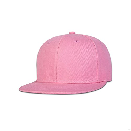 GADIEMENSS Stylish Flat Baseball Cap Bill Plain Snapback Hats Visor Adjustable Size Hip-hop Hat Variety of colors and designs(All Pink)