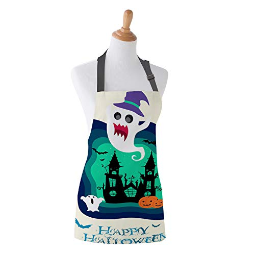 Image Tablecloth Kitchen Bib Apron - Happy Halloween Blue Cartoon Clip Art Unisex Cotton Apron with Adjustable Neck for Cooking Baking Gardening - 26