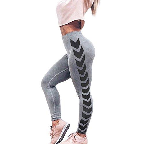 Pantalon de Yoga Pour Femme, Vovotrade Femmes flèche Imprimer Yoga Skinny Workout Gym Leggings Fitness Sports Cropped Pants (Gris, Taille: S)