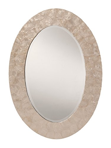 OSP Designs Rio Beveled Wall Mirror with Mother Of Pearl Oval Frame, White by OSP Designs