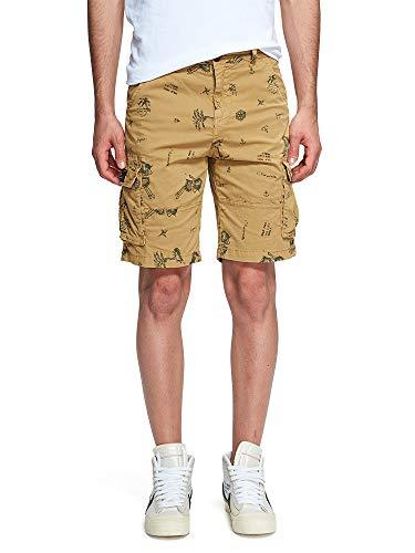 (OCHENTA Men's Lightweight Multi Pocket Casual Cargo Shorts Solid A Yellow US 31 - Tag 33)