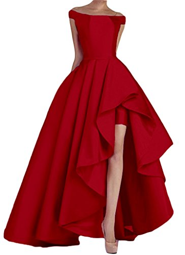 Kevins Bridal Women's Off Shoulder Long Evening Prom Dresses High Low Formal Gowns Red Size 4