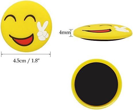Meetory 24 unidades Emoji-cara sonriente imanes de nevera pizarra ...