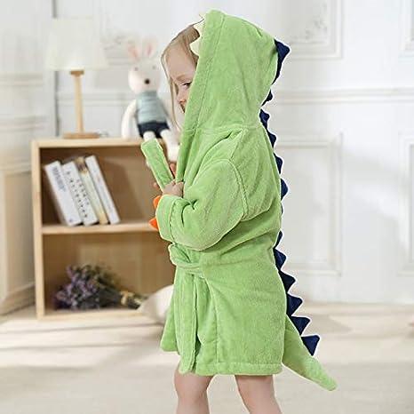 Bata para niños Bata Dinosaurio Elefante Forro Polar Albornoz con Capucha Pijamas para niños Niños Ropa de Dormir: Amazon.es: Ropa y accesorios