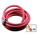 Crimp Supply Ultra-Flexible Car Battery/Welding Cable – 1/0 Gauge, Red – 10 Feet – and 5 Copper Lugs