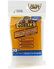 Gorilla Hot Glue Sticks, Mini Size, 4 in Long x .27 in Diameter, Clear Adhesive, All Temperature, Long Term Hold, 30 Count, Clear, (Pack of 1) - 3123003