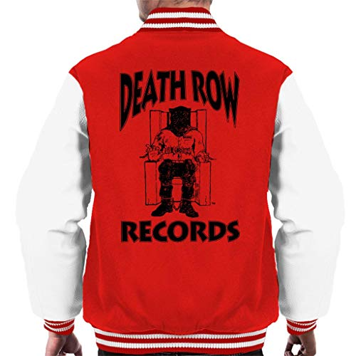 Death Row Records Chair Logo Black Men's Varsity Jacket (Varsity Tupac Jacket)
