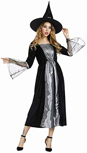jutrisujo Witch Costume for Women Witch Dress Halloween Costumes Party Silver 2XL