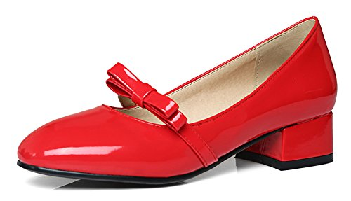 Aisun Womens Comfort Burnished Block Low Heel Dressy Low Cut Dressy Square Toe Slip On Pumps Shoes With Bow Red cYc0q