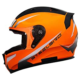Steelbird SA-1 Whif Full Face Helmet (Large 600 MM, Glossy Fluo Red White with Clear Visor)