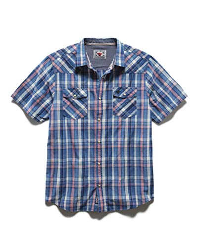 Snap Pearl Vintage Shirts - Flag & Anthem x Desert Son - Men's Short Sleeve Western Snap Button Shirt, XL, Buena Vista Blue