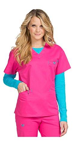 MedCouture by Peaches Women's Signature V-Neck Scrub Top, Tango Pink/Turq Delight, L