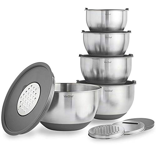 VonShef Nested Mixing Bowl Set With Lids, Non Slip Surface and Measurement Marks, Stainless Steel Mirror Finish Bowls (5 Piece - Gray)