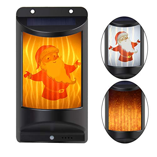 BINZET Solar Deck Lights Flickering Flames/White Wall Lights with 4 Stickers IP65 Waterproof, Easy-to-Install Decoration Wall Lights for Front Porch, Yard, Garage, Outdoor Halloween Christmas Lights ()