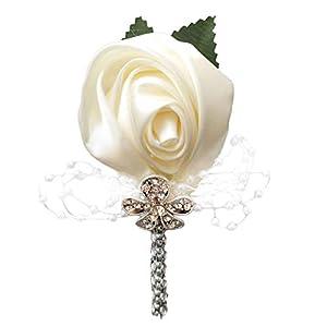 YOYOYU ART HOME DECOR 2 Pcs/Pack Wedding Corsages Boutonniere Groom Diamond Crystal Wedding Flowers Pearl Beaded Brooch Flowers (Cream) 1