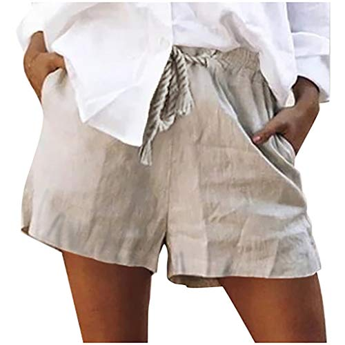 (Botrong Women Casual Solid Cotton Shorts Pants Lace Up)