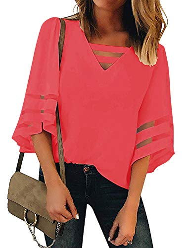 Minclouse Women's 3/4 Bell Sleeve Mesh Blouses Strappy V Neck Loose Shirts Patchwork Tops Deep Pink