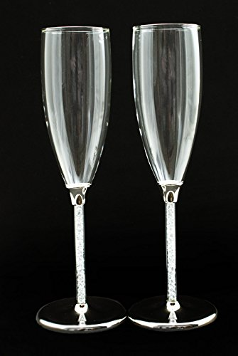 Silver Wedding Glasses Toasting Flute Set Personalized Engraved