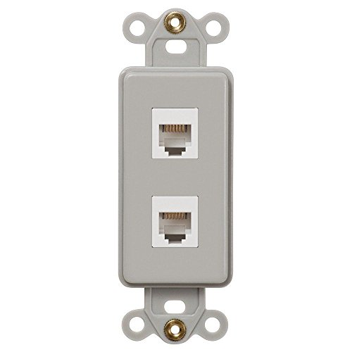 Wall Switch Brushed/Satin Nickel Double Phone Jack Insert HP