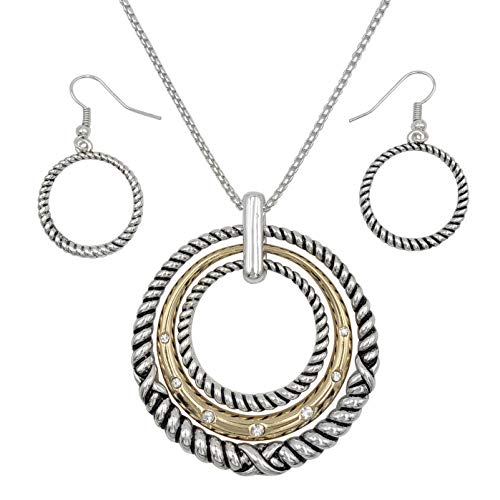 Gypsy Jewels 3 Ring Pendant Statement Necklace & Earring Set - Assorted Colors (Silver Tone Gold Tone Ribbed)