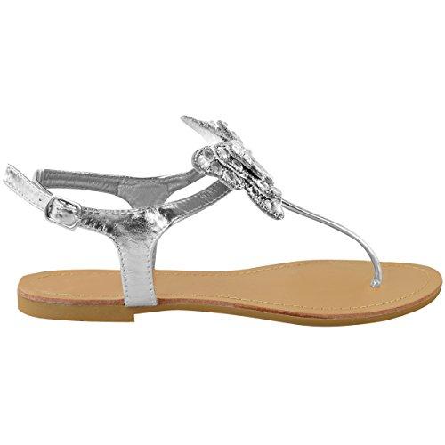 Moda Donna Sete Piatto T-bar Diamante Sandali Estivo Punta Scarpe Formato Argento Metallizzato