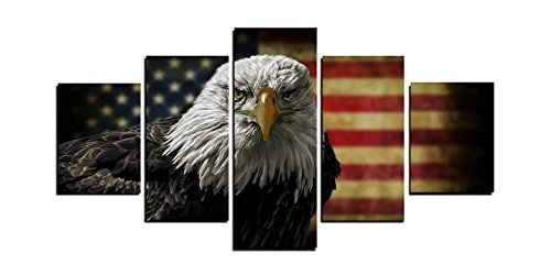 Modern Home and Office Wall Decor 5 Panels Canvas Prints Rustic Eagle Flag Photos to Prints Painting on Canvas (8x14inchx2/8x18inchx2/8x21inchx1) ()