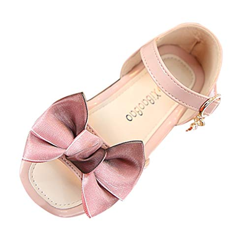 Yikey Girls Sandals, Summer Baby Girls Bowknot Pendant Casual Princess Shoes Sandals Pink