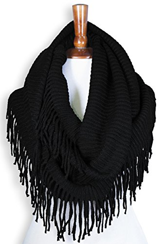 - Basico Winter Warm Knit Infinity Scarf Tassels Cowl Loop (One Size, G-Black)