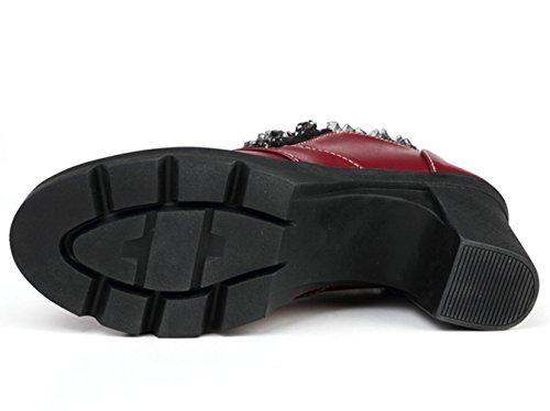 Mid Toe Zipper Wine Women's heel Dadawen Lace Dress Platform Square Shoes Casual Oxfords Red pXwE8