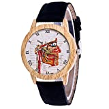 Women's Watches Leather Strap Fashion Dress Casual Watch Unique Pattern Quartz Round Wristwatch for Ladies by Malbaba