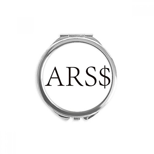 Currency Symbol Argentine Peso Mirror Round Portable Hand Pocket Makeup