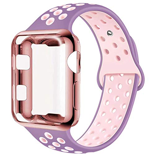 ADWLOF Compatible with Apple Watch Band with Case 38mm, Silicone Replacement Strap with Screen Protector Cover for Wristband for iWatch Series 3/2/1, Nike+, Sport, Edition,S/M,M/L,Violetdust Plumfog