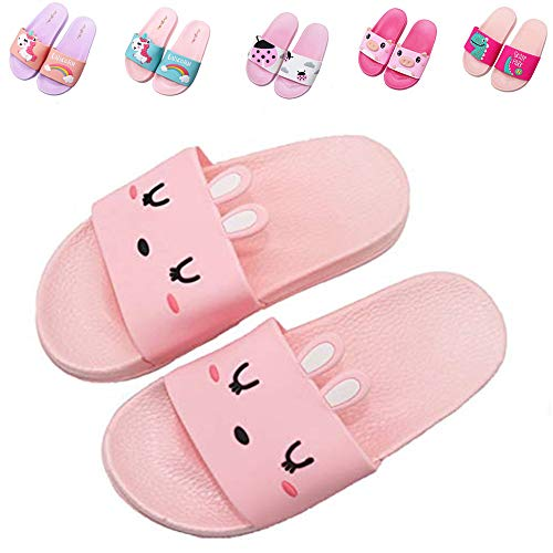 Kids Unicorn Summer Slides Sandals Non-Slip Lightweight Boys Girls Beach Water Shoes Pool Bath Slippers (Toddler/Little Kid) (1 Little Kid, Pink Bunny)