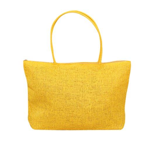 Amarillo De Tejido Yellow Bolso Bolso Del Paja Compras Hombro Señoras La Totalizador Del De De Playa Del Armadura Moda La Meaeo La De De La Las De H4qxFtpt