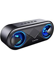 ZoeeTree S8 Altoparlante Bluetooth, Cassa Bluetooth Portatile con LED, Speaker Bluetooth 5.0 Stereo Wireless da 10 W, Basso Potente, 12 ore di gioco, Microfono Integrato, Slot per Scheda TF, Nero