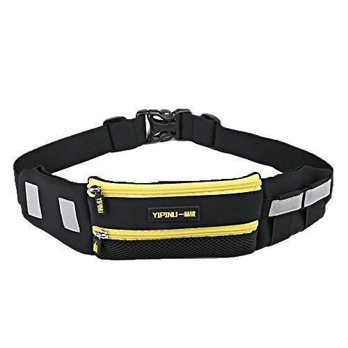 Yipinu - Cinturón de Running para Todos los teléfonos móviles y Android, Amarillo, 15.2 * 7.1 * 3.7Inch