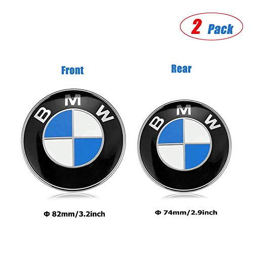 ESKey BMW Emblems Hood and Trunk,82mm+74mm BMW Blue White Emblem Replacement Suitable for ALL Models BMW E30 E36 E46 E34 E39 E60 E65 E38 X3 X5 X6 3 4 5 6 7 8