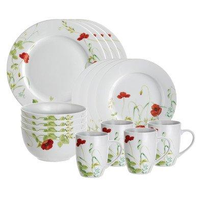 Paula Deen Porcelain 16-Piece Dinnerware Set, Poppy Valley
