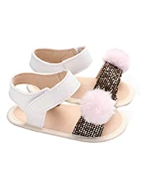 Shanx Baby Toddler Girls Pom Pom and Sequins Open Toe Sandals Princess Summer First Walker Shoes Anti-Slip Prewalker