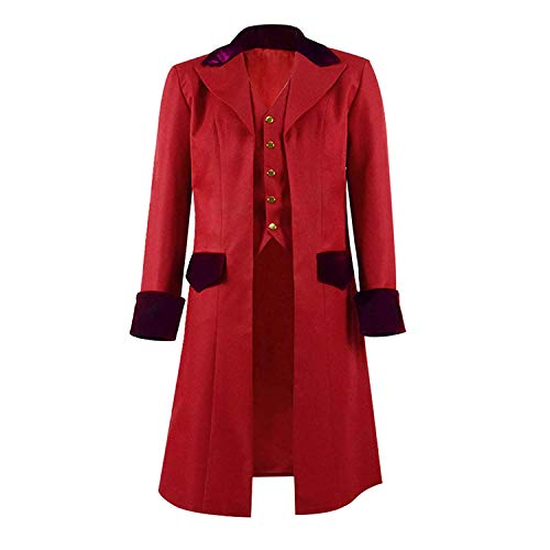COSSKY Boys Gothic Tailcoat Jacket Steampunk Long Coat Halloween Costume (Red(Wine), 4)]()