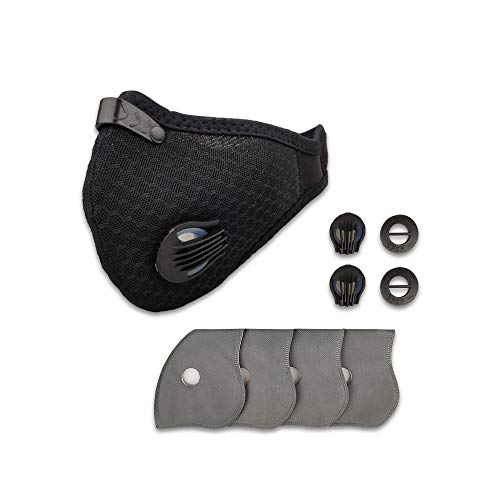 Anti Pollution Dust Mask Cycling Mask with 2 Valves and 4 Activated Carbon N99,for running, biking, and outdoor activitie. (Grid black)