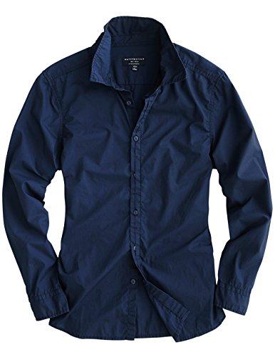 "Match Men's Casual Cotton Long Sleeve Button Down Shirts(US M/CN 2XL (Fit 38""-40""), G2222 Blue)"