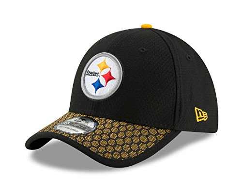 New Era Men's Pittsburgh Steelers 2017 Official NFL Sideline 3930 Cap Black/Yellow Size Small/Medium