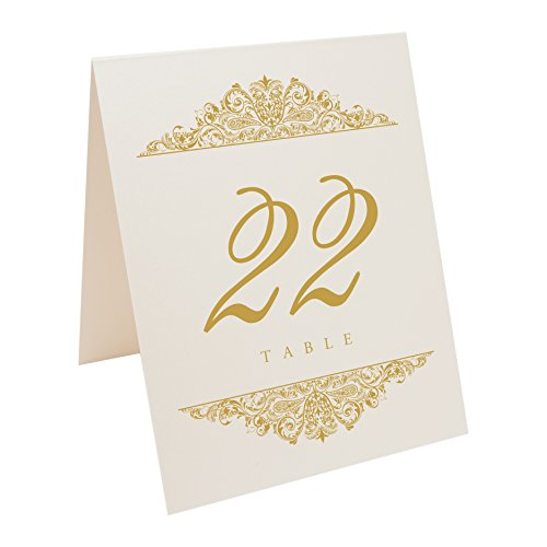 Documents and Designs Paisley Table Numbers (Select Color/Quantity), Champagne, Gold, 1-10 (Best Indian Wedding Card Designs)
