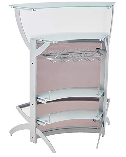 (2-shelf Bar Unit with Glass Top Silver, Frosted and Smoke)