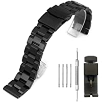 Watch Band Brushed Stainless Steel Strap 20mm Classic Wristband with Double Buckle Safety Lock Replacement Bracelet - Black